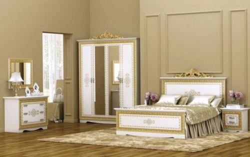 """Спальный гарнитур """"Оливия"""" белый с золотом"""