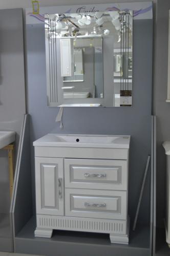 Ванная мебель Оникс 80 серебро Белый