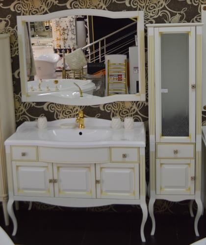 Мебель для ванной Лаура белый с зол патиной