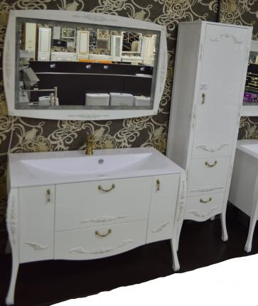 Мебель для ванной Виктория белый глянец золото - фото 2